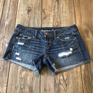 American Eagle Dark Wash Distressed Cut Off Shorts